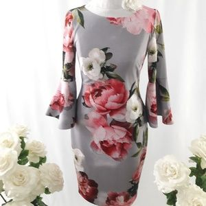 Gorgeous Floral Bell Sleeve Sheath Dress